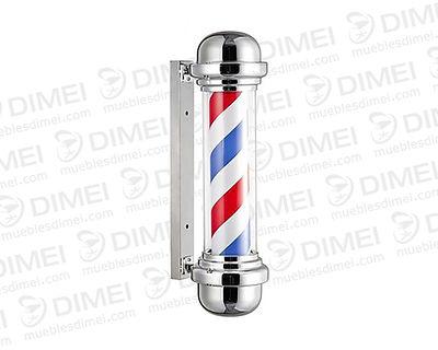 Caramelo de barbería giratorio en acrílico, cilindro interior rotativo, desmontable con base a pared de fijación metálica, ideal para estética o barbería.