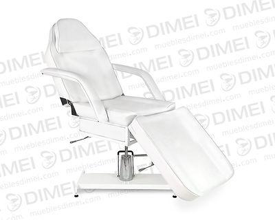 Cama de spa importada para faciales y masajesde diversas posiciones,almohadilla y brazos removibles ybase hidráulica con estructura metálica para mejor soporte y durabilidad.