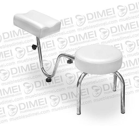 Banco de pedicure ergonómico fijo, ajustable para mayor confort,con estructura de metal cromada forrada con vinil