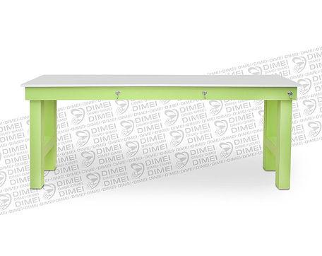 Mesa de manicure triple para esteticas y salones de belleza, cuenta con superficie amplia para 3 personas, hecha en madera