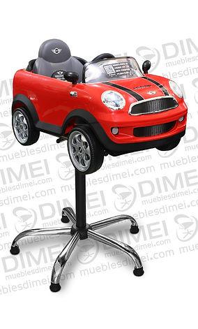Silla neumática con carro mini cooper, cuenta con ruedas guiadas con el volante, tablero de instrumentos realista, sonidos electrónicos al volante, puerta abatible, espejos laterales y parabrisas.