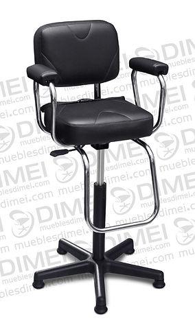 Silla infantil cristal con brazos de plastico y lineas curvas en las costuras de asiento y respaldo