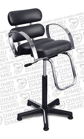 Silla infantil neumatica para esteticas con brazos cromados, respaldo y asiento formado por 2 cojines rectangulaes redondeados