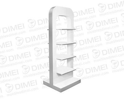 Diseño práctico y funcional de doble vista con 4 repisas amplias, ideal para mostrar productos en una fachada con cristal, fabricado en madera con triplay importado de primera forrado con formaica.