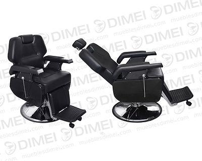 Sillón importado de barbería reclinable con base hidráulica circular, descansapies, cabecera ajustable, sólido, durable y versátil  ideal para peluquerías.