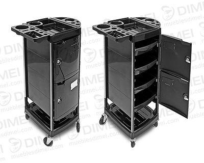 Mesa auxiliar multifuncional de 2 puertas con llave independiente. Abatible para poner tubos, contenedores y secador de pelo. Zona en la parte inferior para colocar accesorios.