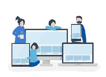 Personnages devant plusieurs écrans d'ordinateur et de téléphone portable