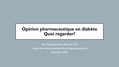 L'opinion pharmaceutique en diabète, quoi regarder?