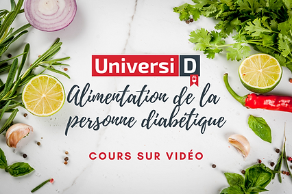 Surface recouverte d'herbes et d'aliments. Le lien dans l'image mène au cours sur vidéo Alimentation de la personne diabétique.
