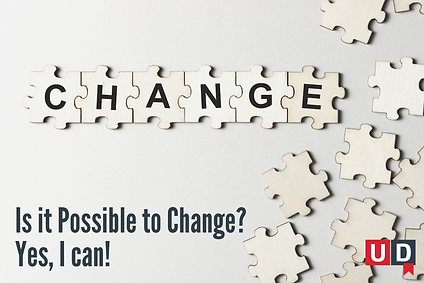 Puzzle pieces are put together. On each one of them a letter appears, forming the word ''change''. More plain puzzle pieces are scattered all around.
