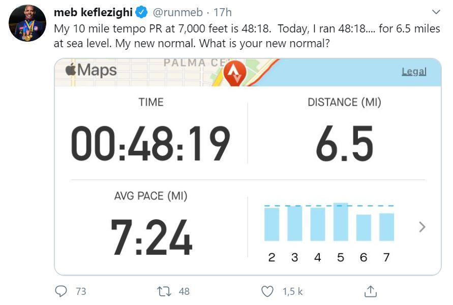 Tweet provenant du compte de Meb Keflezighi. Temps de course : 48 minutes et 19 secondes. Distance : 6,5 miles. Vitesse moyenne : 7 minutes et 24 secondes par mile.