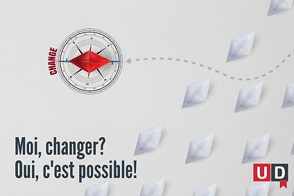 Boussole indiquant un changement de direction, avec la mention ''Change''.