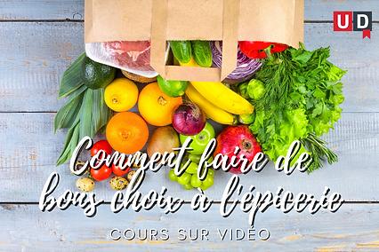 Sac d'épicerie en papier débordant de légumes. Le lien dans l'image mène au cours sur vidéo Comment faire de bons choix à l'épicerie.