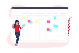 Femme ajoute des notes à un calendrier géant