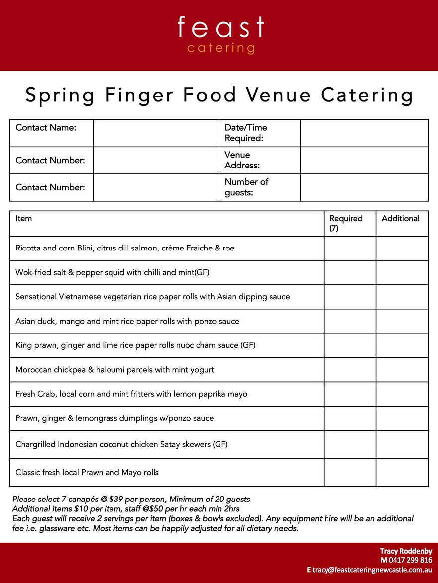 Spring Finger Food Venue Order Form copy
