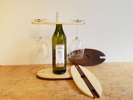 Porte bouteille / verres en bois massif
