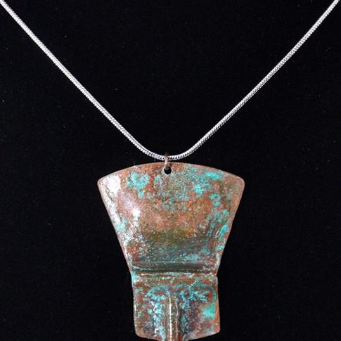 Oxidized Copper Shield Necklace