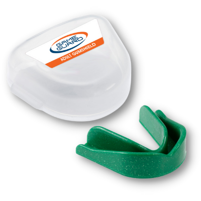 Adult Game Guard Gum shield in Green Sparkle, suitable for all contact sports