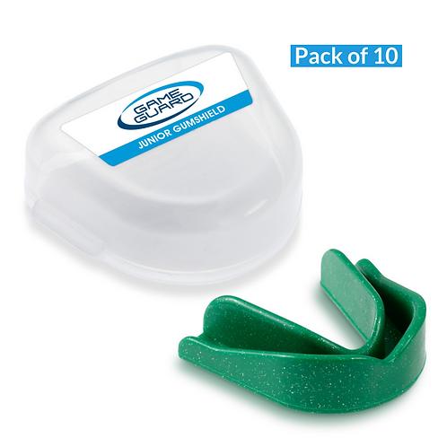 Pack of 10 - Senior/Junior - Game Guard Gumshields - Green Sparkle