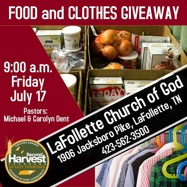 Clothes and Food Giveaway 2020 7-16-2020