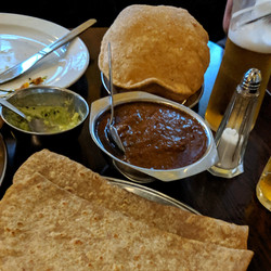 Chapati, Lamb Madras and Puri