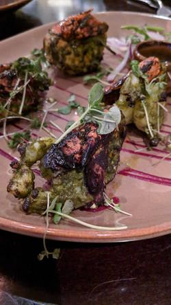 Char-grill tandoori green prawns