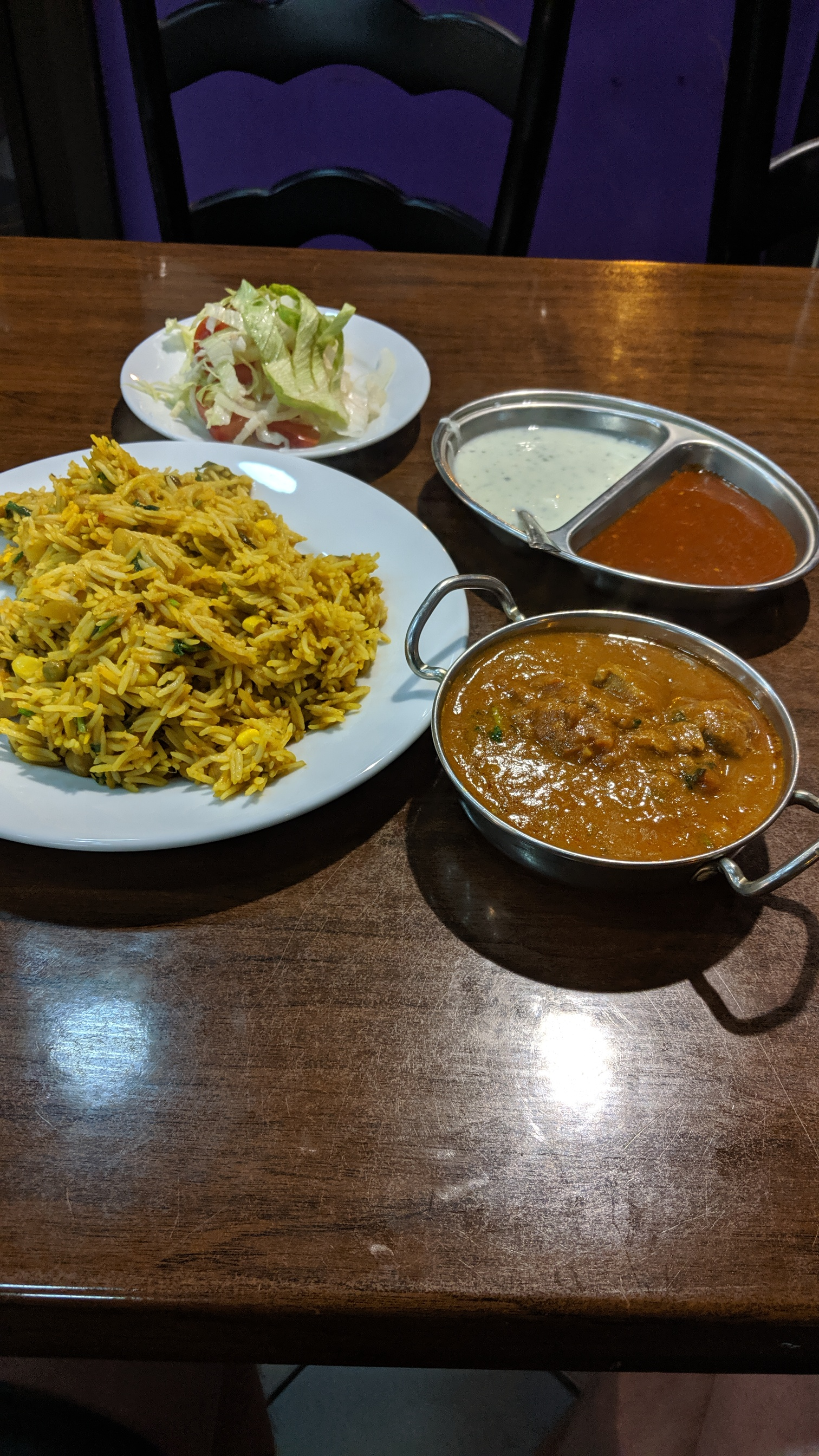 Vegetable Biryani & Lamb Karahi