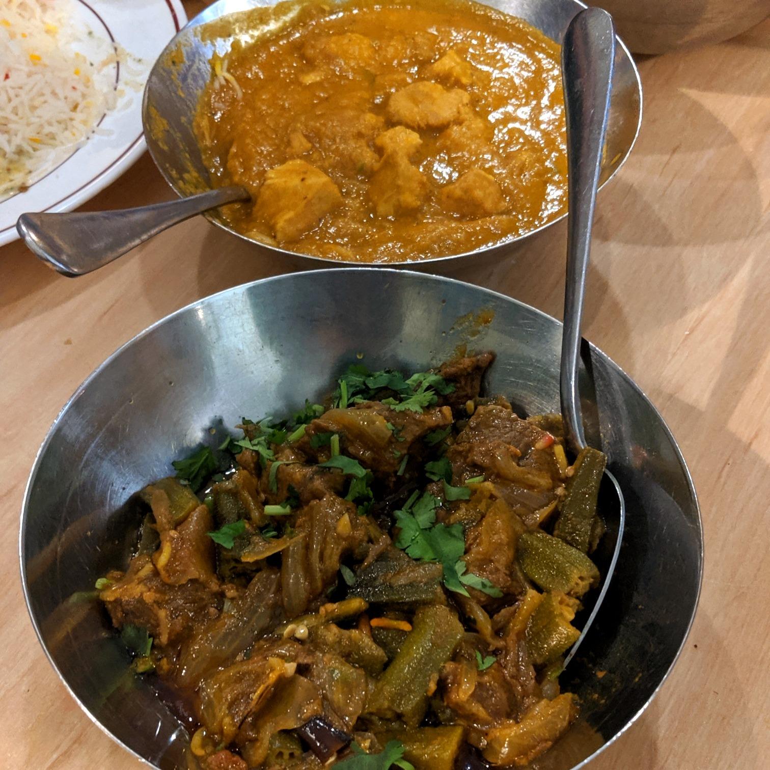 Bhindi Gohst & Karahi Ginger Chicken