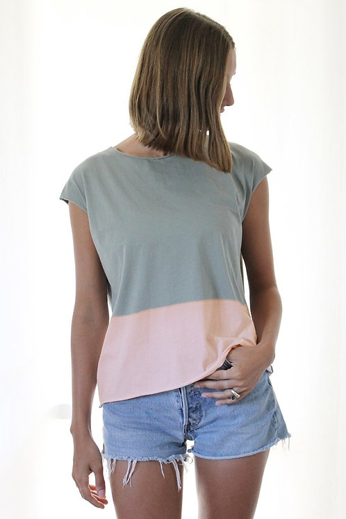Hand-dyed Sage green & pink T-shirt