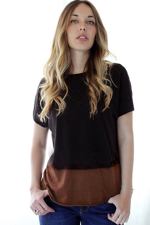 Hand-dyed Black & Chestnut T shirt