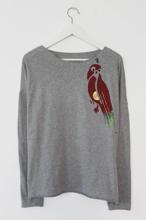 Multi color parrot printed Grey shirt