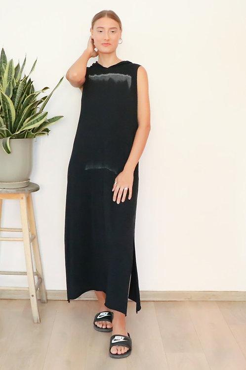 Black hand- printed hoodie dress
