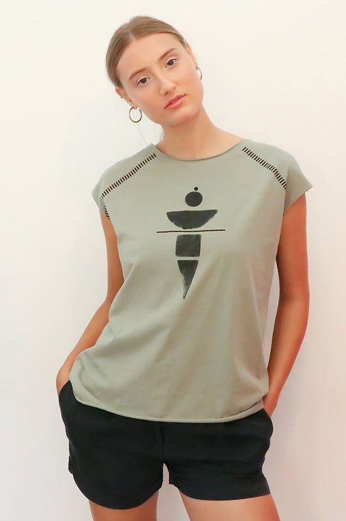 Khaki top with black geometric print