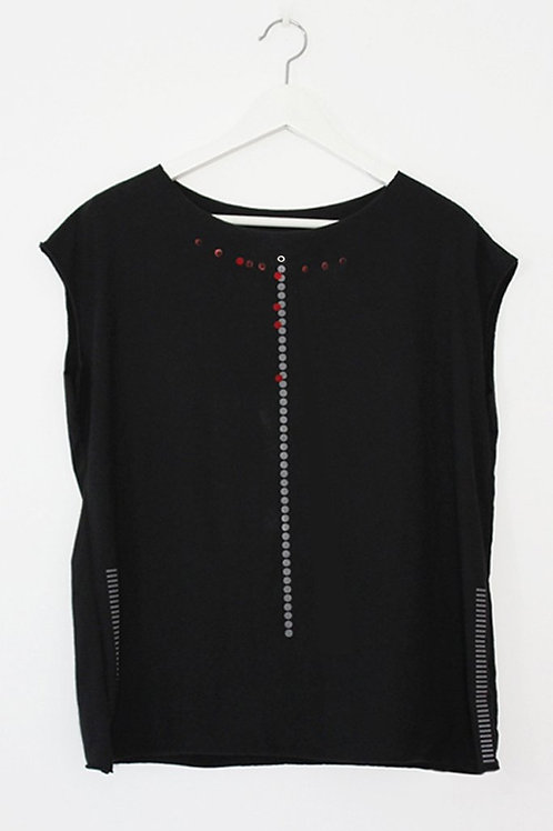 Black shirt with grey & red dots  print