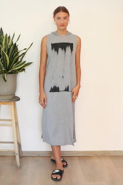 Heather Grey printed hoodie dress