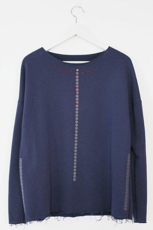 Blue sweatshirt with dots & stripes