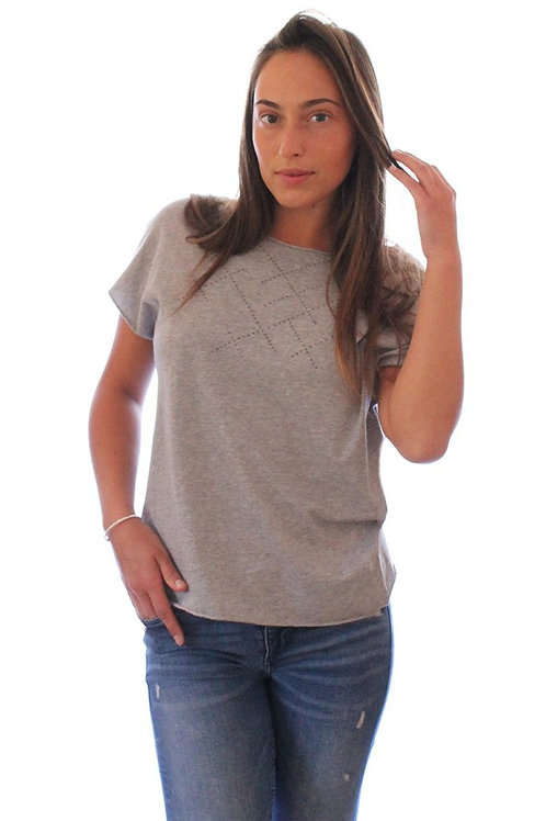 Heather Grey T with puffed dots print