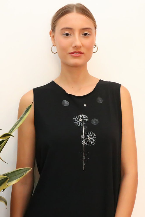 Dandelion printed Black maxi dress