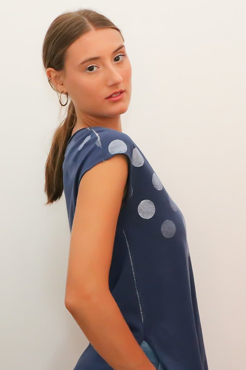 Polka dots printed Blue shirt