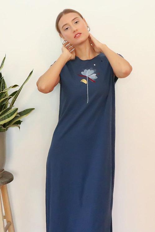 Flower printed Blue midi dress