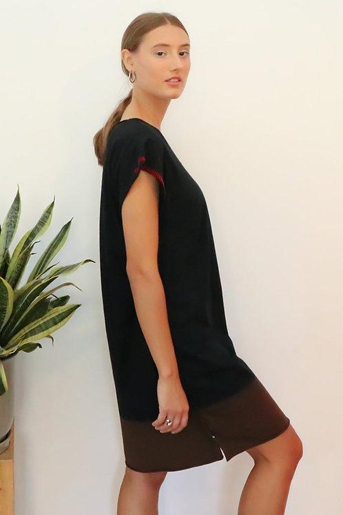 Hand dyed Black Kaftan T dress