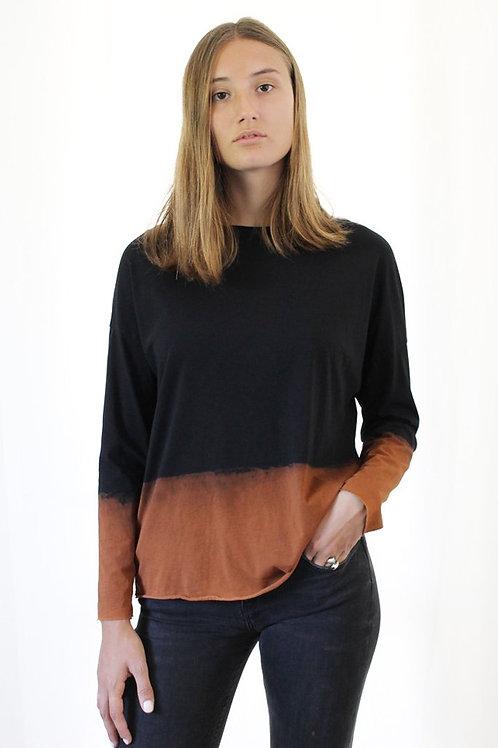 Hand-dyed Black long sleeves shirt