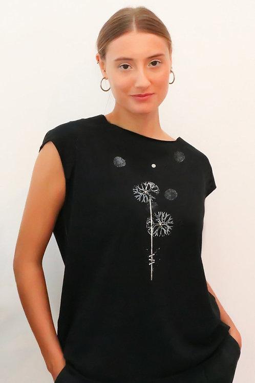 Black top with white Dandelion print