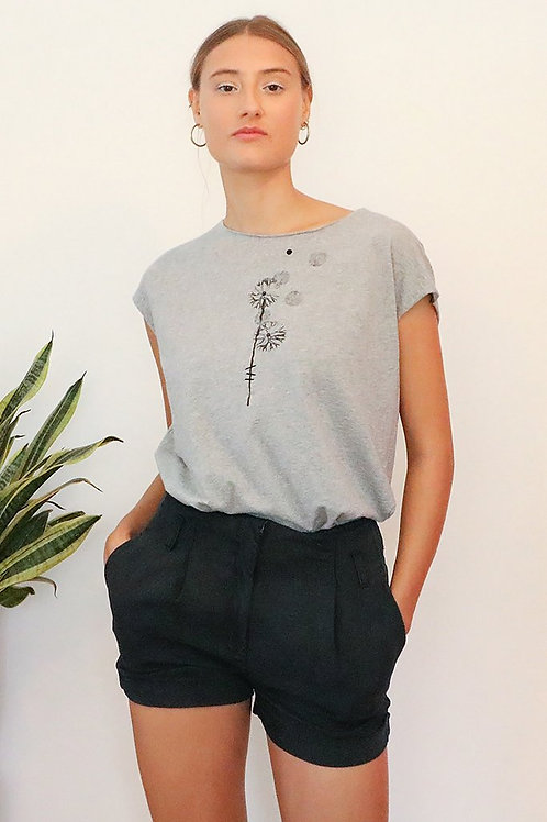 Black dandelion printed Grey shirt