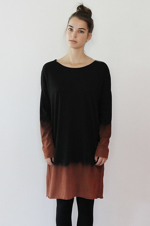 Hand-dyed Black winter dress