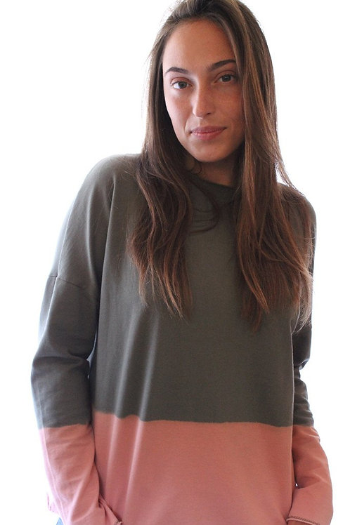 Hand dyed Olive & Peach sweatshirt