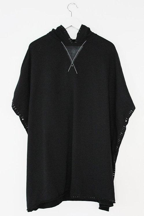 Black hooded poncho sweatshirt