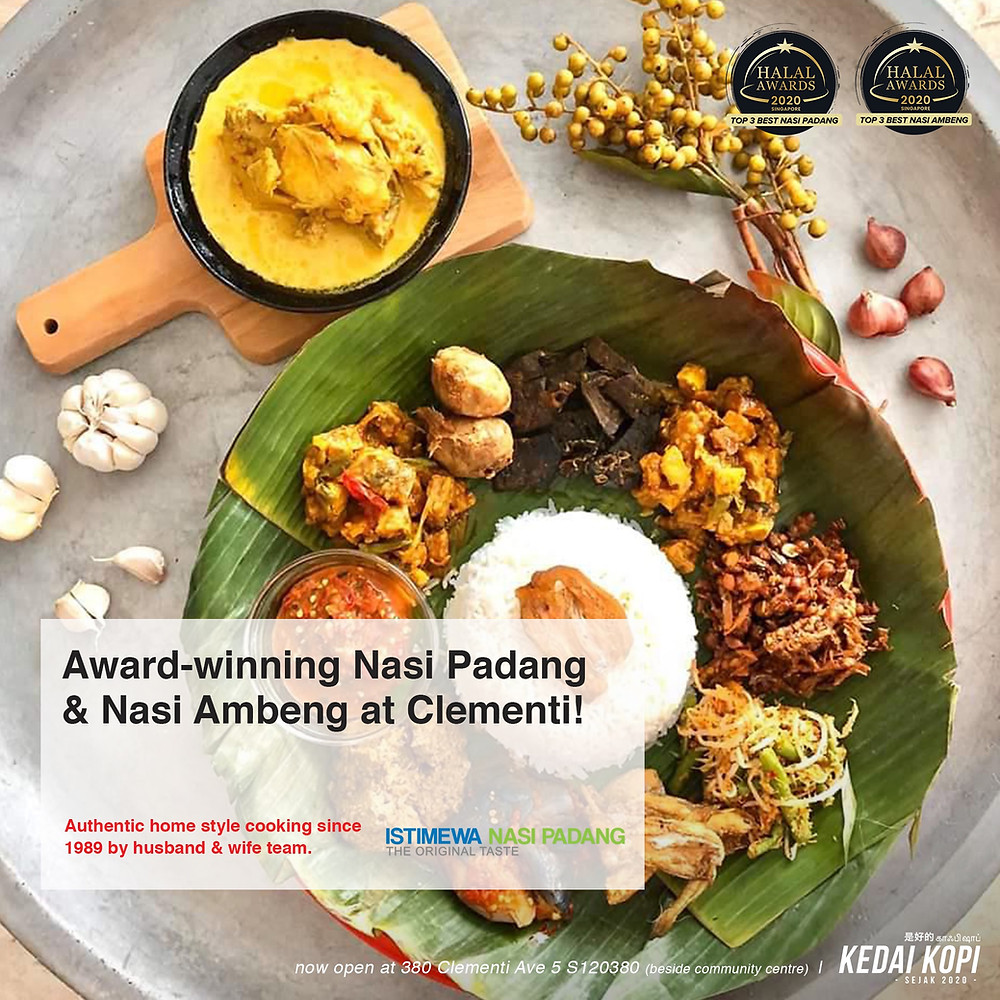 Award-Winning Nasi Padang & Nasi Ambeng now at Kedai Kopi Clementi. Halal Award 2020.