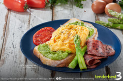 Truffle Scrambled Egg with Guacamole and Turkey Bacon