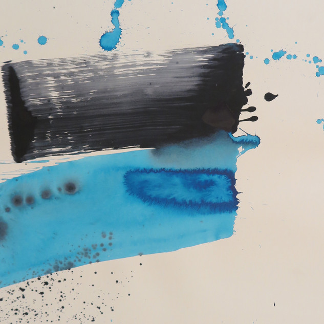 Untitled (Study in blue & black No 2), 2015 Acrylic on paper, 29 x 22 ins